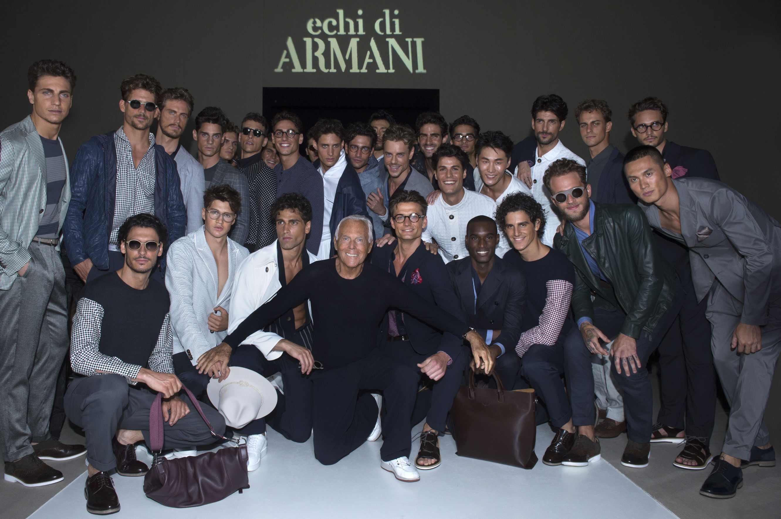 Giorgio Armani and models